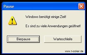 Windows Bierpause Button Pc Fun Lustige Fehlermeldungen